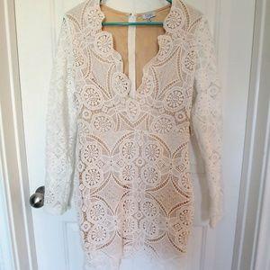 Tobi White Lace Deep Cut V Neck Long Sleeve Dress
